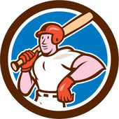 Baseball Player Holding Bat Cartoon — Stock Vector