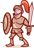 Knight Shield Sword Cartoon — Vector de stock