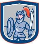 Knight Shield Sword Shield Cartoon — Vettoriale Stock