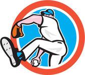 Baseball Pitcher Throwing Ball Circle Cartoon — Stock Vector