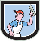 Plasterer Masonry Worker Shield Cartoon — Vetorial Stock