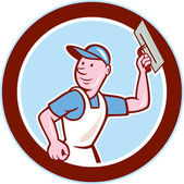 Plasterer Masonry Worker Circle Cartoon — Vetorial Stock