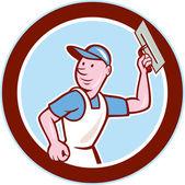 Plasterer Masonry Worker Circle Cartoon — Stock Vector