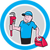 Plumber With Monkey Wrench Toolbox Cartoon — 图库矢量图片