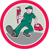 Plumber Monkey Wrench Toolbox Circle Cartoon — 图库矢量图片