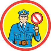 Traffic Policeman Stop Hand Signal Cartoon — Stok Vektör