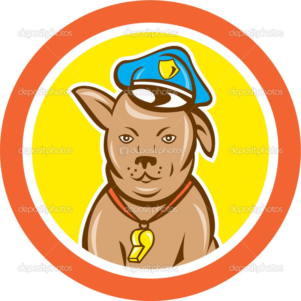 Cartone animato cerchio canina di cane poliziotto