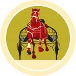 Horse and Jockey Harness Racing Retro — Stock Vector #51199851