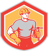 Builder Carpenter Holding Hammer Shield Retro — Vector de stock
