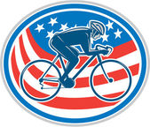 Cyclist Riding Mountain Bike American Flag Oval — Stock Vector