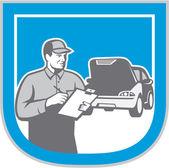 Auto Mechanic Automobile Car Repair Check Retro — Stock Vector