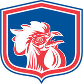 Chicken Rooster Head Mascot Shield Retro — Stockvector