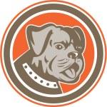 Bulldog Dog Mongrel Head Mascot Circle — Stock Vector #51262915