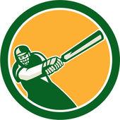 Cricket Player Batsman Batting Circle Retro — Stock Vector