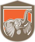 Elephant Head Looking Up Shield Retro — Stock Vector