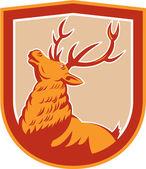 Deer Stag Buck Head Looking Up Retro — Stock Vector