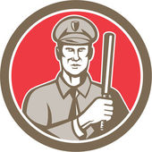 Policeman With Night Stick Baton Circle Retro — Stock Vector