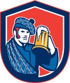 Scotsman Beer Drinker Mug Shield Retro — Stock Vector
