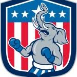 Republican Elephant Boxer Mascot Shield Cartoon — Stock Vector #51310569