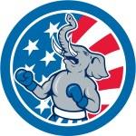 Republican Elephant Boxer Mascot Circle Cartoon — Stock Vector #51310593