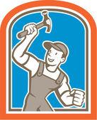 Builder Carpenter Holding Hammer Shield Cartoon — Stock Vector