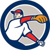 Baseball Pitcher Throw Ball Circle Cartoon — Stock Vector