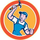 Builder Carpenter Holding Hammer Circle Cartoon — Vector de stock
