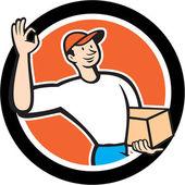 Delivery Man Okay Sign Parcel Circle Cartoon — Stock Vector