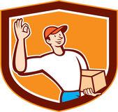 Delivery Man Okay Sign Shield Cartoon — Stock Vector