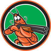 Crayfish Lobster Aiming Shotgun Circle Cartoon — Stock Vector