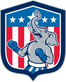 Republican Elephant Boxer Mascot Shield Cartoon — Stock Vector