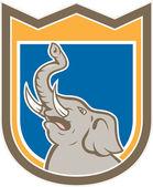Elephant Head Roaring Trunk Up Shield Cartoon — Stock Vector