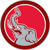 Elephant Head Roaring Trunk Up Cartoon — Stock Vector