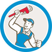 Plumber Holding Monkey Wrench Circle Cartoon — 图库矢量图片