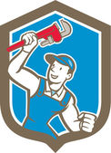 Plumber Holding Monkey Wrench Shield Cartoon — 图库矢量图片
