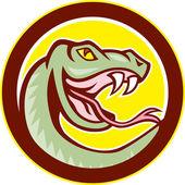Rattle Snake Head Circle Cartoon — Stock Vector