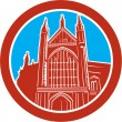Winchester Cathedral Woodcut Retro — Stock Vector #51493839