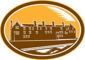 Old Building Cambridge Woodcut Retro — Stock Vector