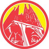Sagrada Família Church Retro — Stock Vector