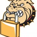 Bulldog Dog Mongrel Head Padlock Retro — Stock Vector #51543651
