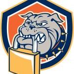 Bulldog Dog Mongrel Padlock Shield Retro — Stock Vector #51543671