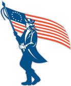 American Patriot Soldier Waving USA Flag Circle Retro — Stock Vector