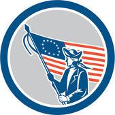 American Patriot Soldier Flag Circle Retro — Vecteur