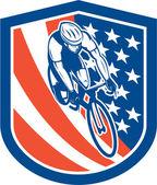 Bicycle Rider USA Flag Shield Retro — Stock Vector