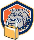 Bulldog Dog Mongrel Padlock Shield Retro — Stock Vector