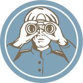 船舶船长双筒望远镜圈复古 — 图库矢量图片