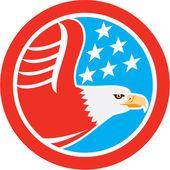 American Bald Eagle Stars Circle Retro — Stock Vector