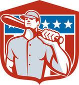 American Baseball Batter Bat Shield Retro — Stock Vector