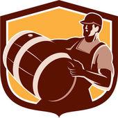 Bartender Carrying Beer Barrel Shield Retro — Stock Vector