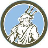 Neptune Poseidon Trident Circle Retro — Vector de stock